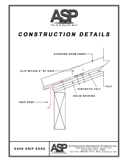 Eave Metal Roof Installation : Construction details architectural sheetmetal products